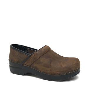 DANSKO Brown Leather Clogs 37